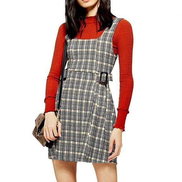 Topshop Plaid Buckle Dress